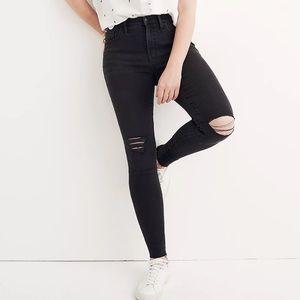 Madewell Distressed Black High Rise Skinny Jean